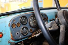 Retro truck dashboard and steering wheel Royalty Free Stock Photos