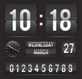 Retro trzepnięcie zegar z daktylowym i podwójnym zegarem Fotografia Stock