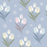 Retro tulips seamless pattern background stock illustration