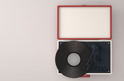 Retro turntable. Top view of retro turntable with copy space - 3D Render Royalty Free Stock Photos