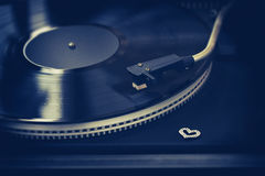 Retro turntable, vinyl record, decor heart Royalty Free Stock Images