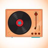 Retro turntable vinyl record player. Vector Royalty Free Stock Images