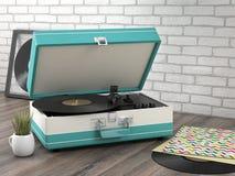 Retro turntable. On wooden floor- 3D Render Stock Photos