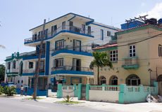 Retro turquoise and blue villas in the Vedado district Royalty Free Stock Photo