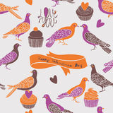 Retro Turtle Dove Valentine Card Stock Photos