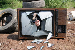 Retro tv. Broken retro tv Stock Photo