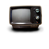 Retro TV. An old retro TV isolated on white with drop shadow with clipping path Royalty Free Stock Images