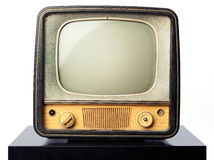 Retro tv. An old television standing on a black table on white background. Put your image or design on the screen Royalty Free Stock Images