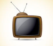 Retro tv. Carton retro tv in brown color. Shiny illustration Royalty Free Stock Photography