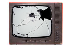 Retro tv. Old trashed TV with a smashed screen Stock Images