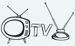 Retro TV. Isolated on blue background Stock Photos