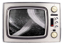 Retro tv. Face on view of retro television stock photo