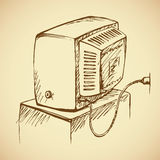 Retro TV Achter mening Vector tekening stock illustratie