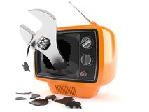Retro TV with adjustable wrench. Isolated on white background Stock Image