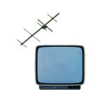 Retro TV with antenna. Old retro tv with antenna on white background Stock Image