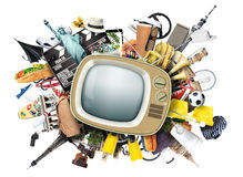 Retro TV. With an antenna and different things Stock Photography