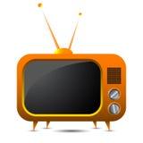 Retro TV arancione Immagini Stock Libere da Diritti
