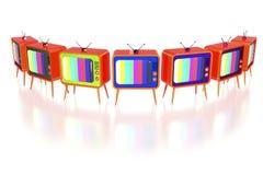 Retro TV arancioni Immagini Stock Libere da Diritti