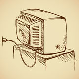 Retro TV. Back view. Vector drawing Royalty Free Stock Photo