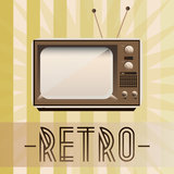 Retro TV. Retro background with old fashioned TV and with inscription Stock Photography