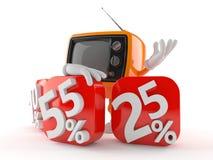 Retro TV character with percent symbols Royalty Free Stock Photos