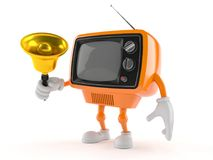 Retro TV character ringing a handbell Royalty Free Stock Photos