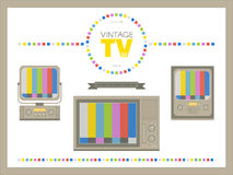 Retro tv collection. Set includes two seamless pattern and brush Royalty Free Stock Photos