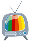 Retro tv with colour screen Stock Photography