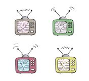 Retro TV in colur with heart on the screen made from sending waves. royalty free illustration