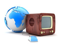 Retro tv and computer mouse Royalty Free Stock Images