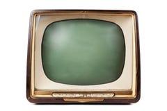 Retro TV con il caso di legno Fotografie Stock
