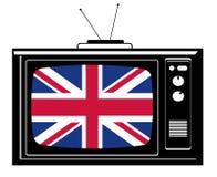 Retro TV con la bandierina di grande Br immagini stock libere da diritti