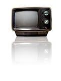 Retro TV con la riflessione Immagine Stock