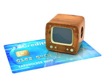Retro TV on credit card Stock Images