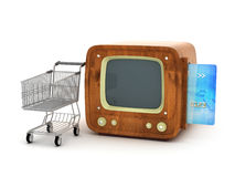 Retro tv, credit card and shopping cart Royalty Free Stock Image