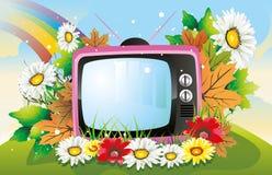 Retro TV die door bloemenillustratie wordt omringd Stock Foto's