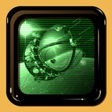 Retro TV display with first spaceship. At the Earth orbit Royalty Free Stock Image