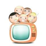 Retro TV en grappige familie Stock Fotografie