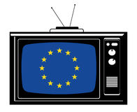 Retro Tv with Europe flag Royalty Free Stock Images