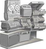 retro tv för utrustningmusik Arkivbild
