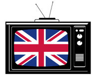 Retro Tv with flag of Great Br Royalty Free Stock Images
