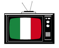 Retro Tv with flag of Italy Stock Images