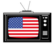 Retro Tv with flag of USA. Illustration of a retro/vintage Tv with the american flag inside Stock Image