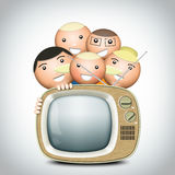 Retro TV and funny family Royalty Free Stock Photography