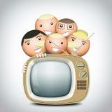 Retro TV and funny family Royalty Free Stock Photography