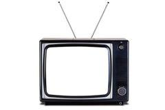 Retro TV geïsoleerder schaduw het knippen weg. Stock Foto