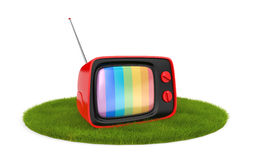 Retro TV on the grass Stock Images