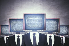 Retro TV headed businessmen stock illustration