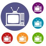 Retro TV icons set. In flat circle reb, blue and green color for web Royalty Free Stock Photography
