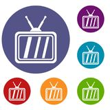 Retro TV icons set. In flat circle reb, blue and green color for web Stock Photo